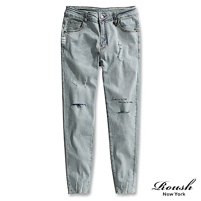 Roush 貼標設計褲管膠印水洗彈力牛仔褲