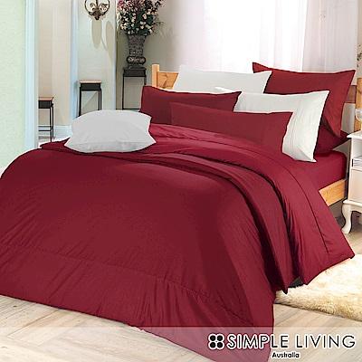 澳洲Simple Living 特大300織台灣製純棉床包枕套組(魅力酒紅)