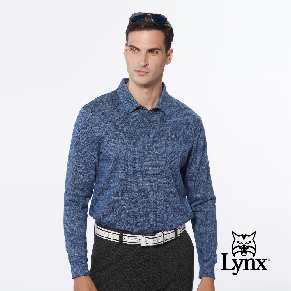 【Lynx Golf】男款歐洲進口布料純棉絲光後背花朵緹花胸袋款長袖POLO衫-深藍色