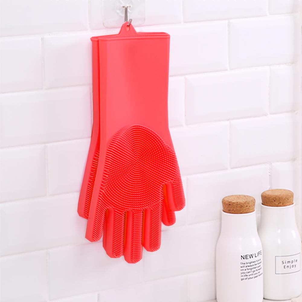 KM生活 多功能矽膠魔術清潔手套1雙(紅色)