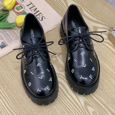 韓國KW美鞋館 時尚百搭字母厚底鞋-黑