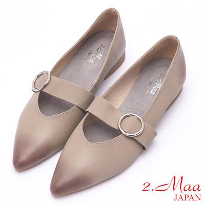 2.Maa 仿舊漸層牛皮低跟尖頭包鞋 - 灰