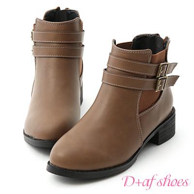 D+AF 完美作風.側鬆緊雙釦切爾西短靴*灰棕
