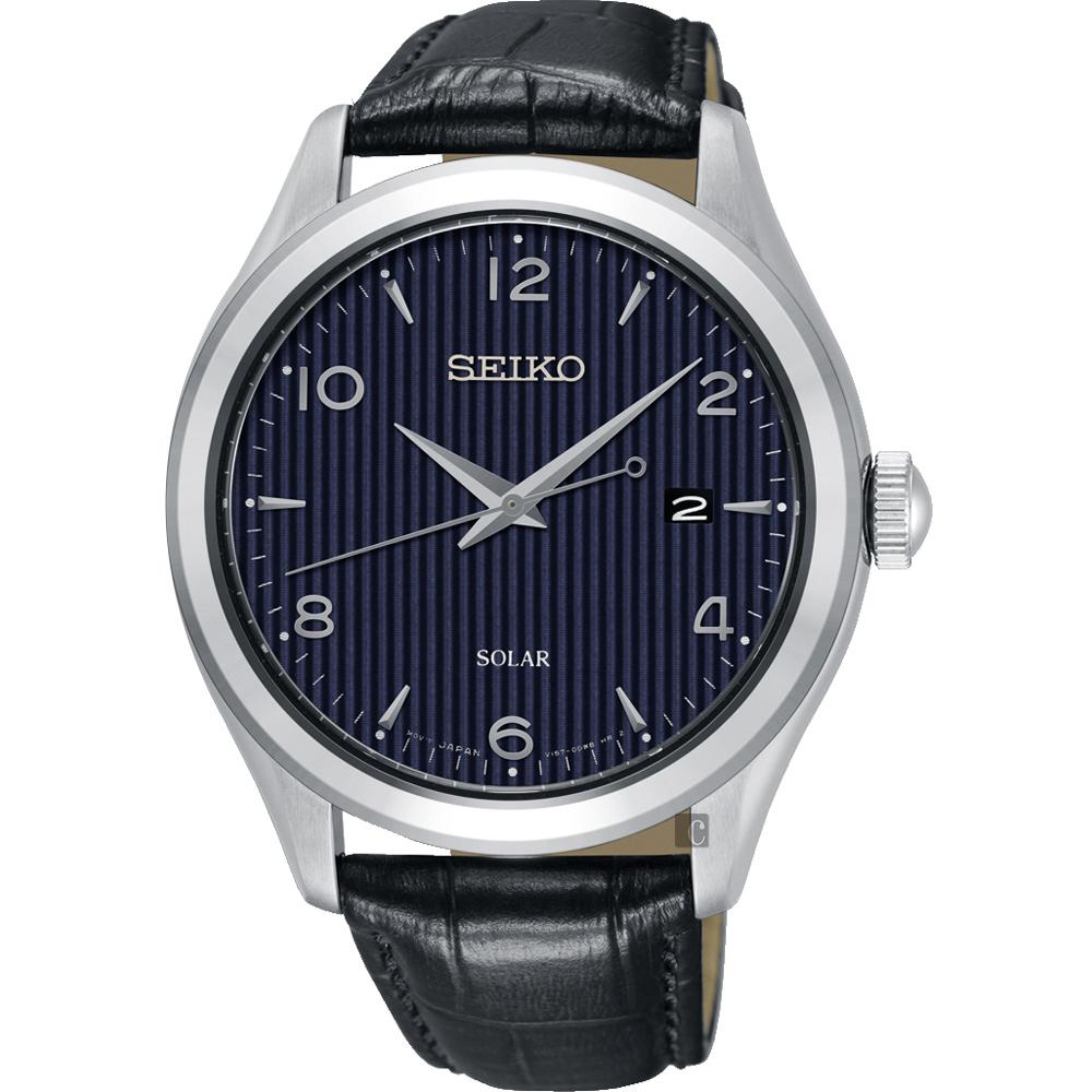 SEIKO 精工 SOLAR 太陽能日系紳士時尚手錶-藍/42mm V157-0CN0B