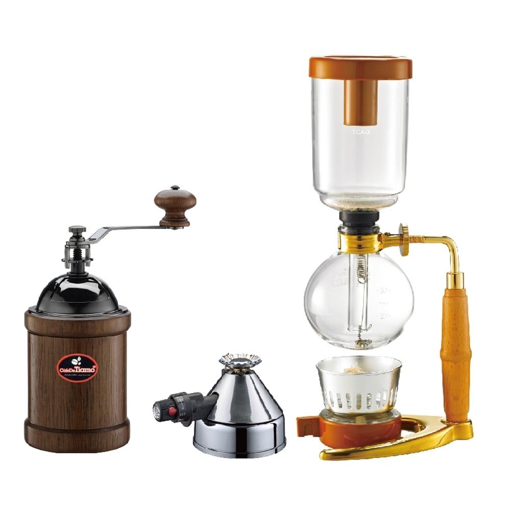 [Tiamo]TCA-3 虹吸壺3人份-金色立架+Micro Burner 咖啡登山爐