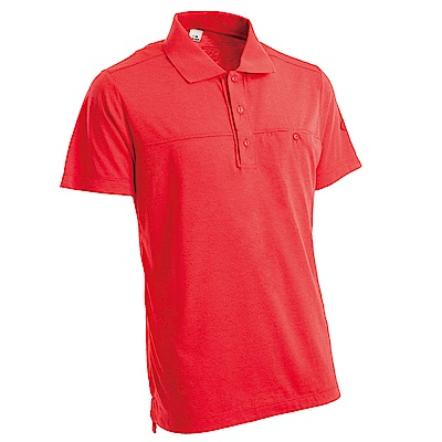 【EiDER】男排汗透氣有 機棉短袖POLO衫紅色
