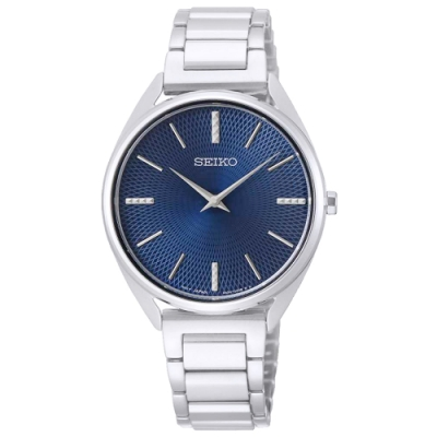 SEIKO 精工菱格簡約時尚手錶SWR033P1-藍X銀/32mm