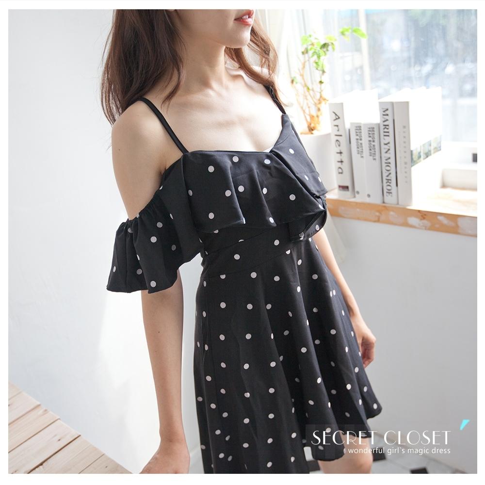 Secret Closet-復古荷葉露肩連身洋裝