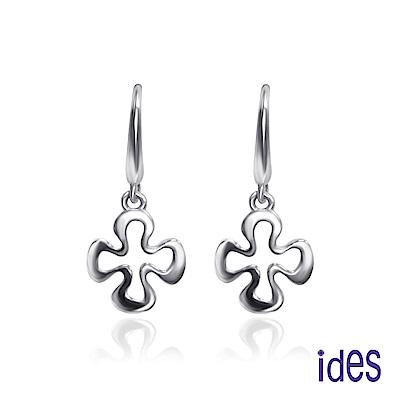ides愛蒂思 限量義大利14K白金耳環/耳勾式(十字架)