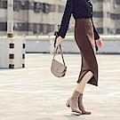 質感腰鬆緊側開衩針織裙-OB大尺碼