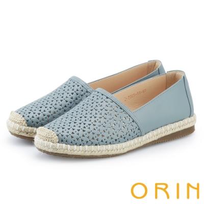 ORIN 花紋簍空牛皮平底便鞋 淺藍