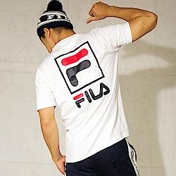FILA 背面大LOGO圓領T恤-白色 1TET-1503-WT