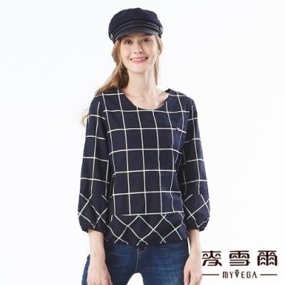 【麥雪爾】純棉時尚百搭格紋印花上衣