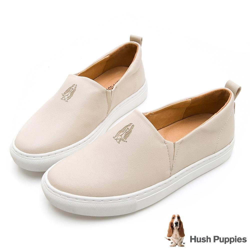 Hush Puppies Basset 女皮革直套便鞋-淺杏色