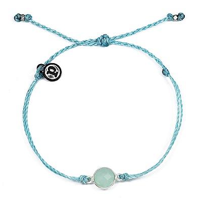 Pura Vida 美國手工 海藍石墜飾 冰河藍臘線可調式手鍊衝浪防水手繩