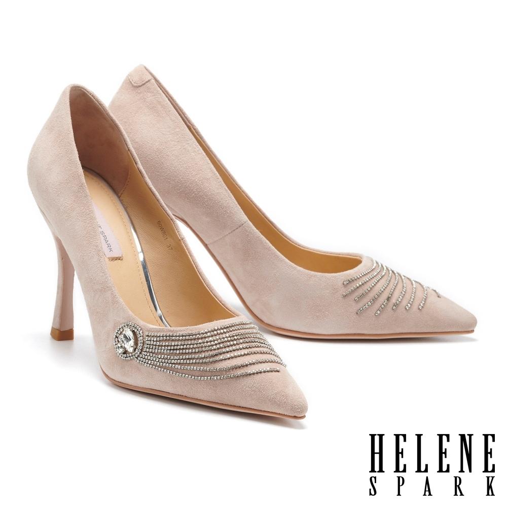高跟鞋 HELENE SPARK 奢柔閃耀流蘇晶鑽尖頭美型高跟鞋-粉