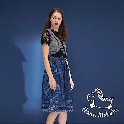 Hana+花木馬 牛仔單寧水洗刷色拼接蕾絲印花造型半長圓裙-藍