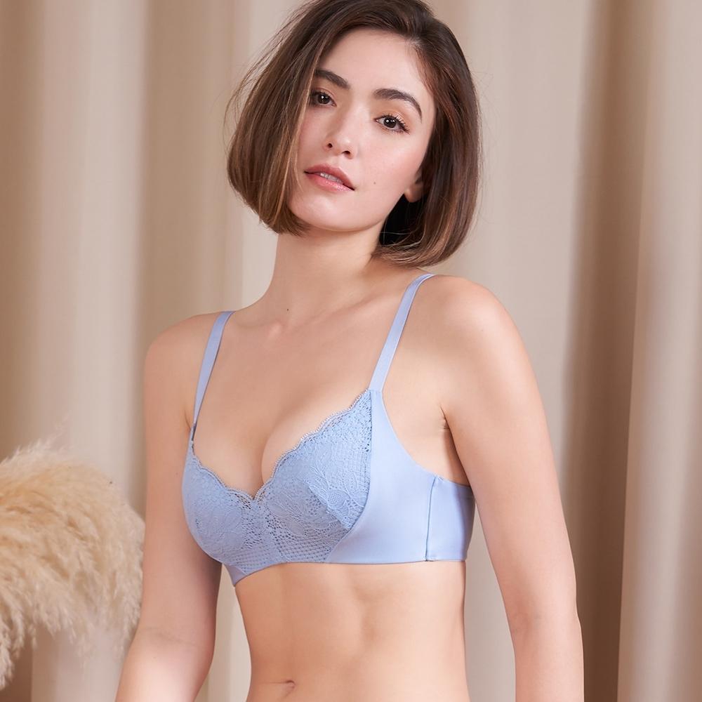 黛安芬-舒適美型系列 雙向彈力包覆無鋼圈 B-D罩杯內衣 迷霧藍