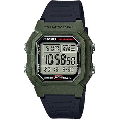 CASIO 實用潔簡10年電力數位電子錶-綠X黑(W-800HM-3A)/26mm
