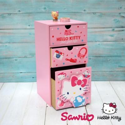 Hello Kitty 凱蒂貓 立體裁片直立式三抽盒 桌上收納 文具收納 飾品收納