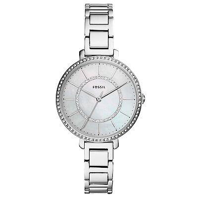 FOSSIL Jocelyn優雅晶鑽時尚手錶(ES4451)-珍珠貝X銀/36mm