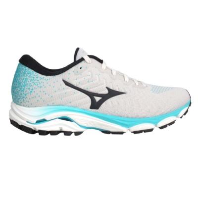 MIZUNO WAVE INSPIRE 16 WAVEKNIT 女慢跑鞋-美津濃 J1GD201316 灰黑湖水綠