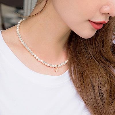 水鑽優雅珍珠項鍊-OB大尺碼