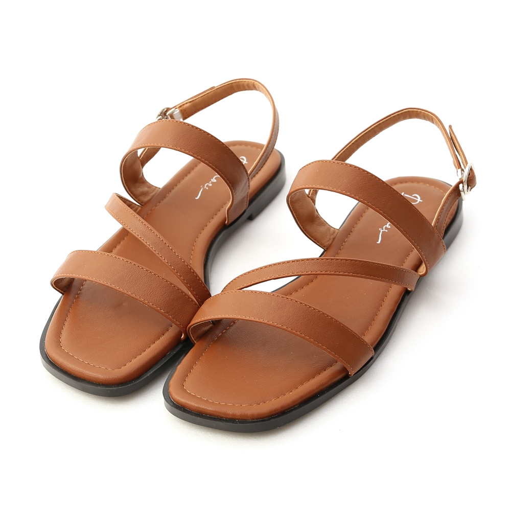 D+AF 夏氛首選.一字斜帶方頭平底涼鞋*棕