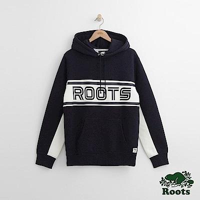 Roots 男裝-緞帶連帽上衣-藍