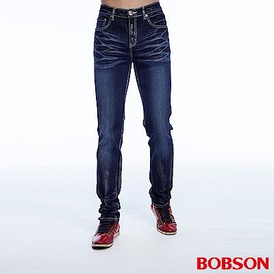 【BOBSON】男款刷銀漆伸縮直筒褲(藍53)