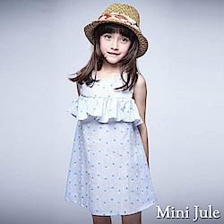 Mini Jule 洋裝 滿版鳳梨條紋無袖露肩洋裝(藍)