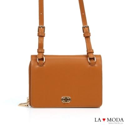 La Moda 時尚感倍增多夾層多背法大容量肩背斜背小方包(棕)