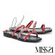 拖鞋 MISS 21 前衛叛逆異材質繫帶鏈條方頭低跟拖鞋-紅 product thumbnail 1