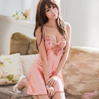 性感睡衣 甜美粉紅系緞面深V刺繡柔紗性感睡衣(粉F) Lorraine