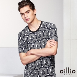 oillio歐洲貴族 夏日透氣涼感圓領T恤 超柔抗皺衣料  黑色