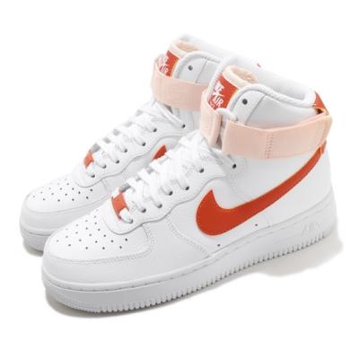 Nike 休閒鞋 Air Force 1 High 運動 女鞋 基本款 簡約 皮革 質感 球鞋 穿搭 白 橘 334031118