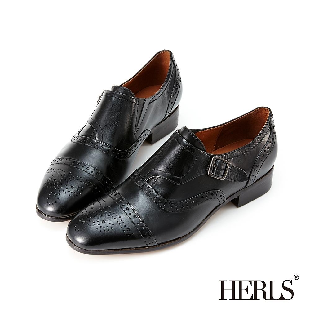 HERLS孟克鞋-光澤全真皮雕花單釦孟克鞋牛津鞋-黑色