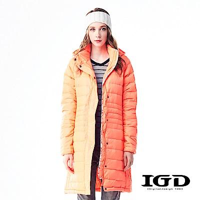 IGD英格麗 90%輕量保暖修身長版羽绒外套-螢光橘