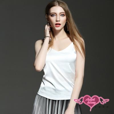 內搭上衣 簡約俐落 仿冰絲細肩帶素色內搭 背心內衣上衣 素色內搭(白色M~XL) AngelHoney天使霓裳