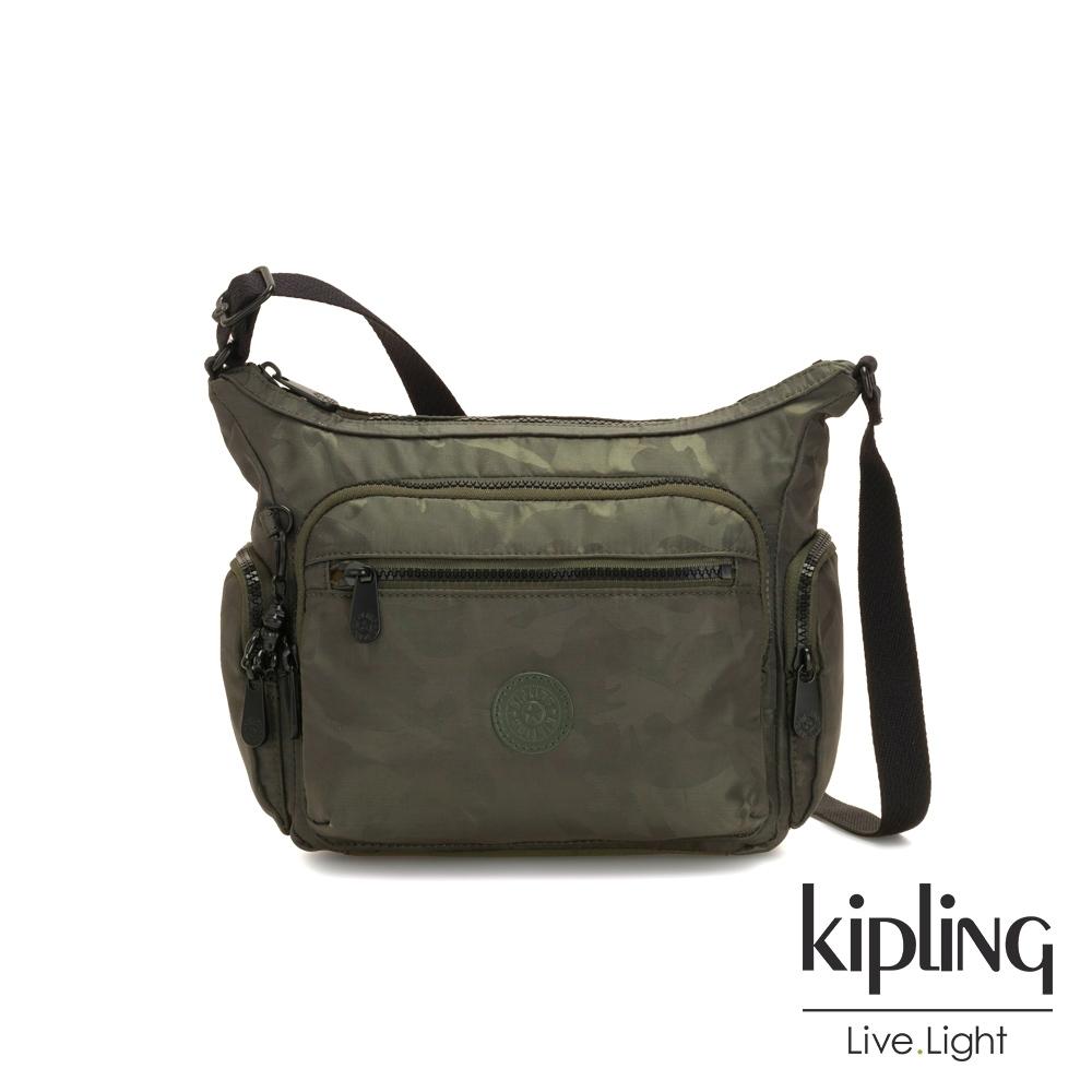 Kipling 迷彩緞灰多袋實用側背包-GABBIE S