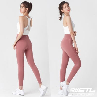 STL Yoga Leggings Free Line 9 韓國瑜珈『無尷尬線』 高腰壓腹 訓練拉提緊身褲 自由曲線 乾燥玫瑰 重訓/路跑/登山/瑜珈