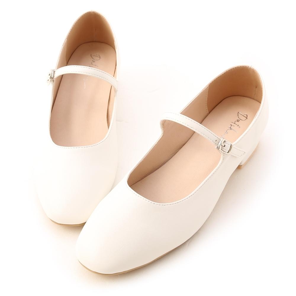 D+AF 跳舞女孩.圓頭細帶低跟瑪莉珍鞋*白