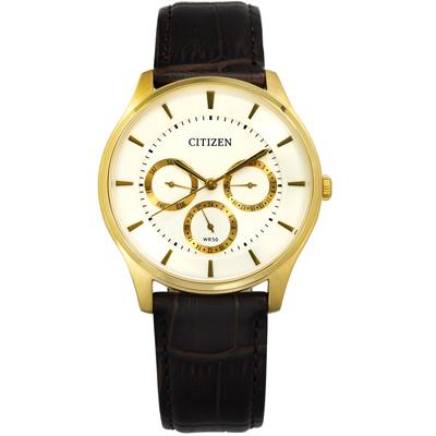 CITIZEN 星辰表 三眼星期日期日本機芯壓紋真皮手錶-銀x金框x深棕/39mm