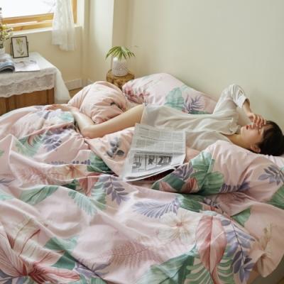 La Lune 簡奢200織台灣製精梳棉雙人床包枕套3件組-芭蕉葉