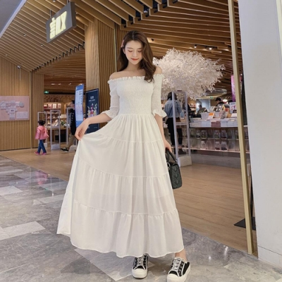 IMStyle 一字領荷葉花邊雪紡長洋裝 (2色-黑色、白色)