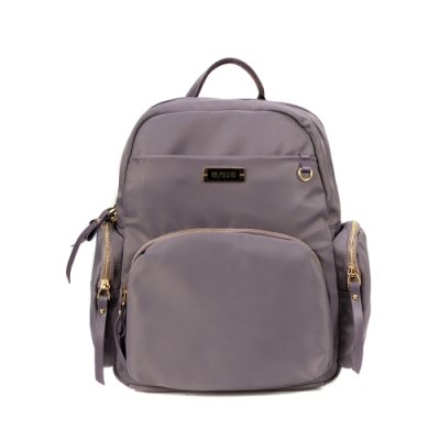 ANGIMI SHOP 後背雙層多口袋實用包 獨特貝兒-紫灰色