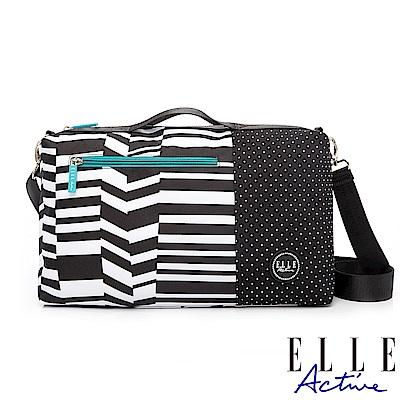 ELLE Active 錯位空間系列-小旅行袋/側背包/公事包/手提包-黑色幾何條紋