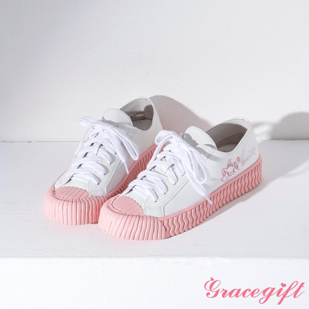 Disney collection by gracegift-櫻花不對稱真皮餅乾鞋 粉