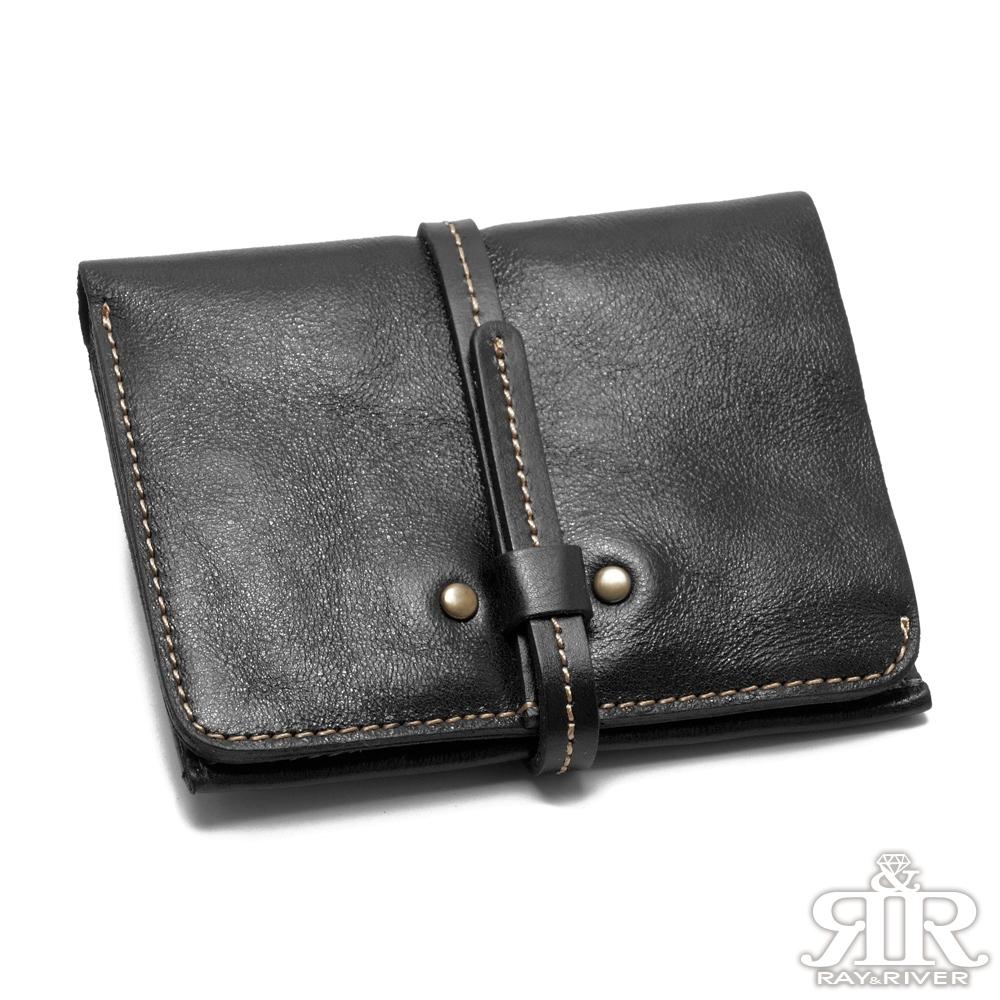 2R 頭層植鞣牛皮 Craftsman 細帶手感短夾 星夜黑