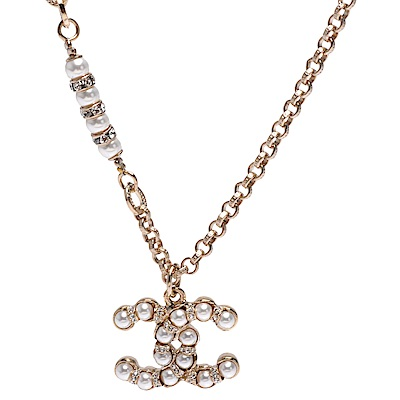 CHANEL 經典雙C LOGO珠珍水鑽鑲嵌項鍊(白X金)